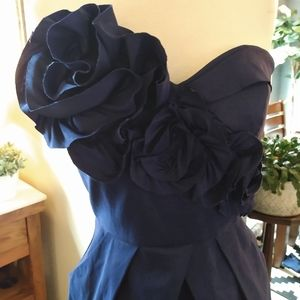 Navy blue strapless party dress